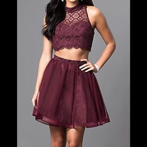 Two-Piece Short High-Neck Homecoming Dress